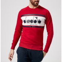 Diadora Mens Crew Spectra Sweatshirt - Red Salsa/White/Blue Dream - XL - Red