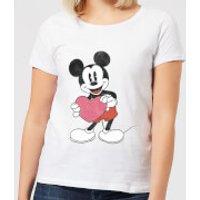 Disney Mickey Mouse Heart Gift Women's T-Shirt - White - S - White