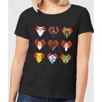 Star Wars Valentine's Pixel Montage Women's T-Shirt - Black - M - Black