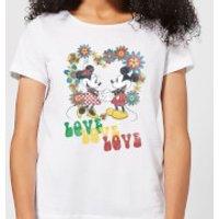 Disney Mickey Mouse Hippie Love Women's T-Shirt - White - 5XL - White - Hippie Gifts