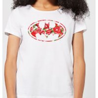 DC Comics Floral Batman Logo Women's T-Shirt - White - XS - White