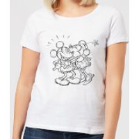 Disney Mickey Mouse Kissing Sketch Women's T-Shirt - White - XL - White