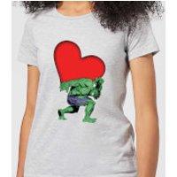 Marvel Comics Hulk Heart Women's T-Shirt - Grey - M - Grey
