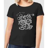Disney Mickey Mouse Kissing Sketch Women's T-Shirt - Black - L - Black