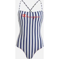 Champion Womens Cross Back Swimsuit - Wht/All Over - L - Multi