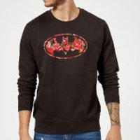 DC Comics Floral Batman Logo Sweatshirt - Black - XL - Black - Batman Gifts