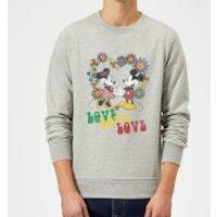 Disney Mickey Mouse Hippie Love Sweatshirt - Grey - XXL - Grey - Hippie Gifts
