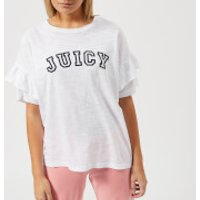 Juicy Couture Womens Juicy Logo Ruffle Sleeve Graphic T-Shirt - White - L - White