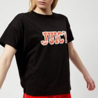 Juicy Couture Women's Juicy Logo Split Neck Graphic T-Shirt - Pitch Black - M - Black