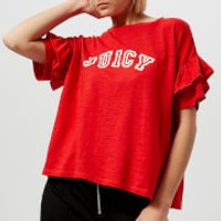 Juicy Couture Womens Juicy Logo Ruffle Sleeve Graphic T-Shirt - Red - S - Red