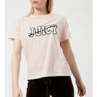 Juicy Couture Women's Juicy Logo Split Neck Graphic T-Shirt - Cali Sunrise - L - Pink