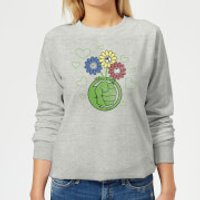 Marvel Avengers Hulk Flower Women's Sweatshirt - Grey - M - Grey