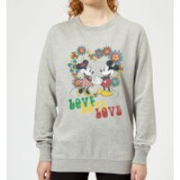 Disney Mickey Mouse Hippie Love Women's Sweatshirt - Grey - 5XL - Grey - Hippie Gifts