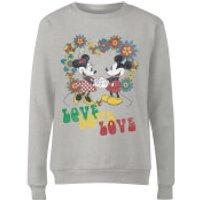 Disney Mickey Mouse Hippie Love Women's Sweatshirt - Grey - XXL - Grey - Hippie Gifts