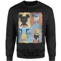 Disney Mickey Mouse Donald Duck Mickey Mouse Pluto Goofy Tiles Sweatshirt - Black - XXL - Black