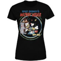 Disney Mickey Mouse Retro Poster Piano Women's T-Shirt - Black - XXL - Black - Music Gifts