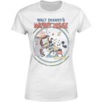 Disney Mickey Mouse Retro Poster Piano Women's T-Shirt - White - XXL - White - Music Gifts