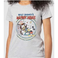 Disney Mickey Mouse Retro Poster Piano Women's T-Shirt - Grey - 5XL - Grey - Piano Gifts