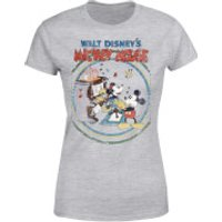 Disney Mickey Mouse Retro Poster Piano Women's T-Shirt - Grey - XXL - Grey - Music Gifts
