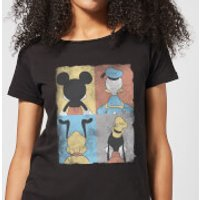Disney Mickey Mouse Donald Duck Mickey Mouse Pluto Goofy Tiles Women's T-Shirt - Black - XS - Black
