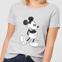 Disney Mickey Mouse Classic Kick B&W Women's T-Shirt - Grey - XS - Grey - Disney Gifts
