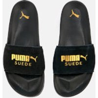 Puma Leadcat Suede Slide Sandals - Puma Black/Puma Team Gold - UK 5 - Black