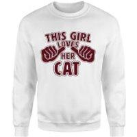 This Girl Loves Her Cat Sweatshirt - White - XXL - White