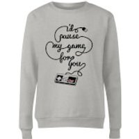 I'd Pause My Game For You Women's Sweatshirt - Grey - Xxl - Grey