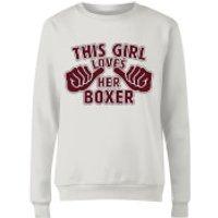This Girl Loves Her Boxer Women's Sweatshirt - White - 4XL - White