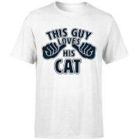 This Guy Loves His Cat T-Shirt - White - XXL - White