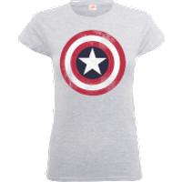 Marvel Avengers Assemble Captain America Distressed Shield Women's T-Shirt - Grey - M - Grey
