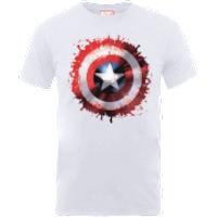 Marvel Avengers Assemble Captain America Art Worded Shield Badge T-Shirt - White - XL - White