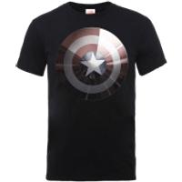 Marvel Avengers Assemble Captain America Shield Shiny T-Shirt - Black - XXL - Black