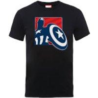 Marvel Avengers Assemble Captain America Outline Badge T-Shirt - Black - XXL - Black - Captain America Gifts