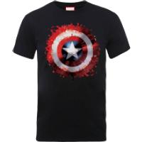 Marvel Avengers Assemble Captain America Art Shield Badge T-Shirt - Black - L - Black
