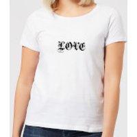 Love Gothic Text Women's T-Shirt - White - 5XL - White - Gothic Gifts