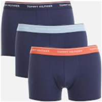 Tommy Hilfiger Mens 3 Pack Trunk Boxer Shorts - Deep Sea Coral/Chambray Blue/Peacoat - M - Blue