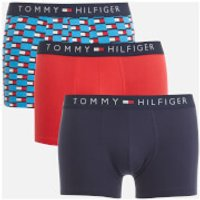 Tommy Hilfiger Mens 3 Pack Trunk Boxer Shorts - Malibu Blue/Lollipop/Navy Blazer - XL - Multi