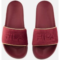 Fila FILA Women's Drifter Border Velour Sliders - Red - UK 6 - Red