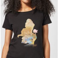 Disney Beauty And The Beast Princess Filled Silhouette Belle Women's T-Shirt - Black - L - Black - Princess Belle Gifts