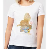 Disney Beauty And The Beast Princess Filled Silhouette Belle Women's T-Shirt - White - M - White