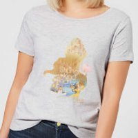 Disney Beauty And The Beast Princess Filled Silhouette Belle Women's T-Shirt - Grey - 5XL - Grey - Princess Belle Gifts