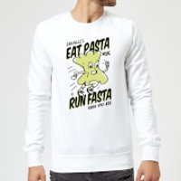 EAT PASTA RUN FASTA Sweatshirt - White - XXL - White - Pasta Gifts