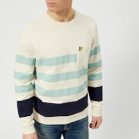 Lyle & Scott Mens Stripe Sweatshirt - Seashell White - L - White