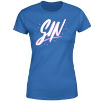 Gin Script Womens T-Shirt - Royal Blue - L - Royal Blue