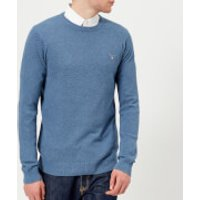GANT Mens Cotton Pique Crew Neck Sweatshirt - Mid Denim Blue Melange - L - Blue