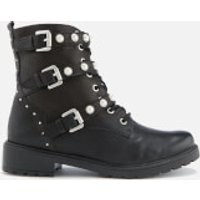 Dune Women's Risky Leather Biker Boots - Black - UK 3 - Black