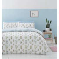 Catherine Lansfield Cactus Duvet Set - Green - Single - Green - Bedding Gifts