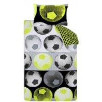 Catherine Lansfield Neon Football Duvet Set - Yellow - Single - Yellow