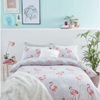 Catherine Lansfield Flamingo Duvet Set - Grey - Single - Grey